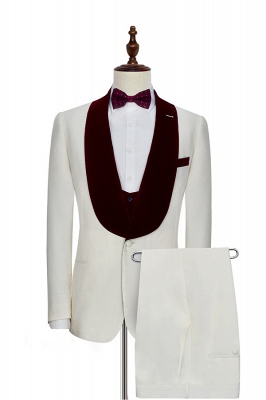 White Red Velvet Shawl Collar One Button Quinceanera Tuxedos | Latest Design Single Breasted Slim Fit Suit_1