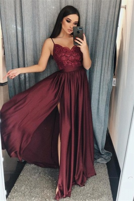 Alluring Applique Spaghetti-Strap Banquet Dresses | Side slit Sleeveless Formal Dresses with Beads_1