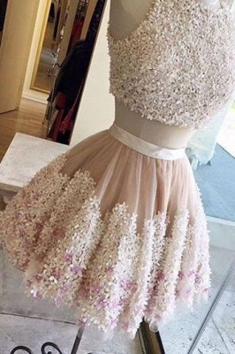 Crystal Applique Jewel Dama Dresses | Two Piece Sleeveless Short Party Dresses_4