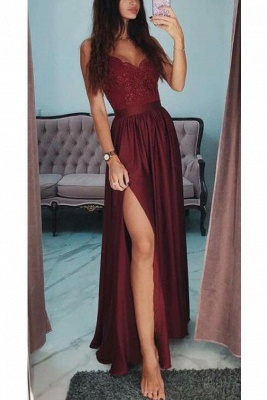 Alluring Applique Spaghetti-Strap Banquet Dresses | Side slit Sleeveless Formal Dresses with Beads_3