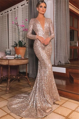 Alluring Silver Backless Lone-Sleeves Sexy V-Neck Sequins Mermaid Formal Dresses | Banquet Dresses Online_1