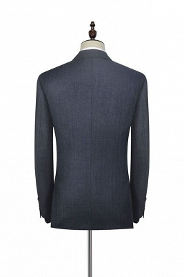 Dark Grey Wool Stripe Two botton Suit For Men | New Single Breasted Quinceanera Tuxedos_4