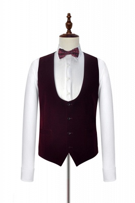 White Red Velvet Shawl Collar One Button Quinceanera Tuxedos | Latest Design Single Breasted Slim Fit Suit_6