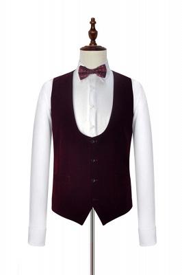 Traje de boda de un botón de terciopelo rojo chal de un botón | _ltimo dise_o de un solo traje ajustado en el pecho_6