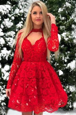 Vestidos de manga larga de encaje rojos | Una línea de vestidos de regreso a casa de longitud corta_1