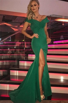 Vestidos de noche de sirena con abertura lateral | sin mangas y fuera del hombro verde_1