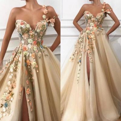 Elegante vestido de noche con flores | con abertura lateral de flores de un hombro_2