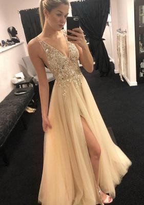 Elegantes correas con cuello en V vestidos de noche | Sin mangas Una línea Corte largo lateral_1