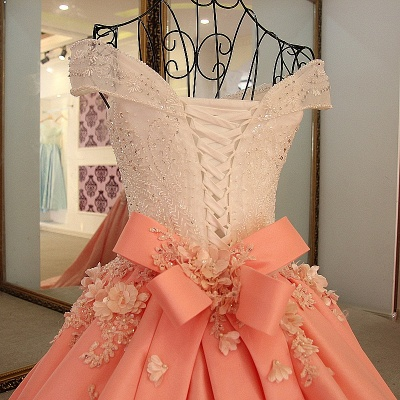 Elegant Beading Ribbon Bow Ball Gown Quinceanera Dresses_5