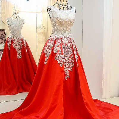 Lace Appliques Beading Sleeveless Red Quinceanera Dresses_1
