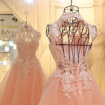 Elegant High Neck Appliqued Tulle Long Quinceanera Dresses_6