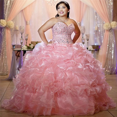 Gorgeous Pink Sweetheart Sleeveless Beadings Quinceanera Dresses | Ball Gown XV Dresses_1
