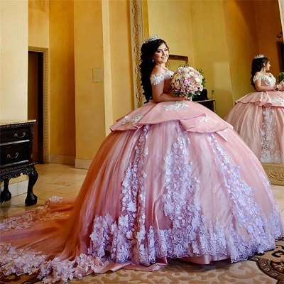Fascinating Off-the-shoulder Appliques Ball Gown Quinceanera Dresses | Appliques 15 Dresses Long_1