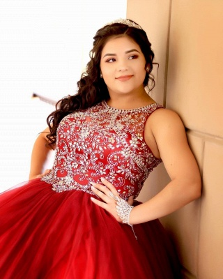 Fabulous Red Jewel Beadings Ball Gown XV Dresses | Sleeveless Quinceanera Dresses Long_4