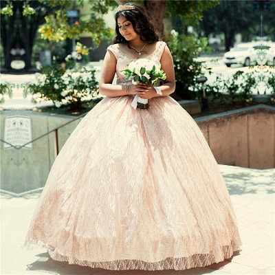Marvelous Lace Scoop Ball Gown Sweet 16 Dresses | Beadings Quinceanera Dresses Long_1