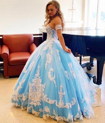 Exquisite Off-the-shoulder Beadings Ball Gown Sweet 16 Dresses | Appliques Quinceanera Dresses Long_3