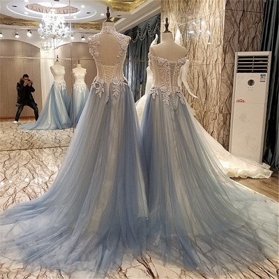 Sleeveless Appliques Top Long Tulle Quinceanera Dresses_4