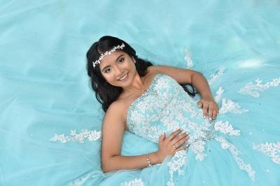 Atractivo piscina azul sin tirantes dulce 16 vestidos | Vestido de fiesta apliques de quince vestidos largos_2