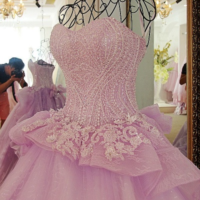 Strapless Sweetheart Beading Bows Quinceanera Dress_2