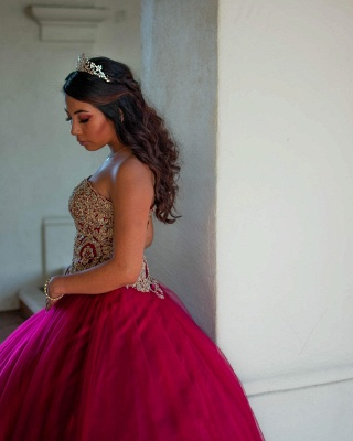 Beautiful Sweetheart Appliques Ball Gown Quinceanera Dresses | Strapless 16 Dresses Long_2