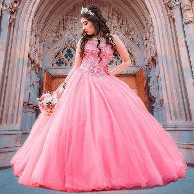 Gorgeous Watermelon Red Jewel Sleeveless Beadings Quinceanera Dresses | Tulle Ball Gown XV Dresses_1