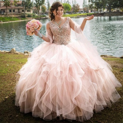 Marvelous Pink V-neck Layered Ball Gown Sweet 16 Dresses | Beadings Quinceanera Dresses Long
