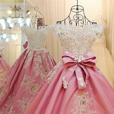 Pink Ball-gown Pearl Beading Appliques Court Train Quinceanera Dresses_5