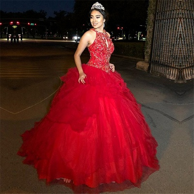 Fabulous Red Jewel Beadings Ball Gown XV Dresses | Sleeveless Quinceanera Dresses Long_1