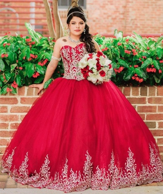 Beautiful Red Sweetheart Sleeveless Ball Gown Quinceanera Dresses | Appliques 16 Dresses Long_2