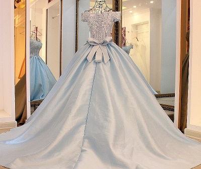 Off-the-Shoulder Sleeveless Appliques Quinceanera Dress_2