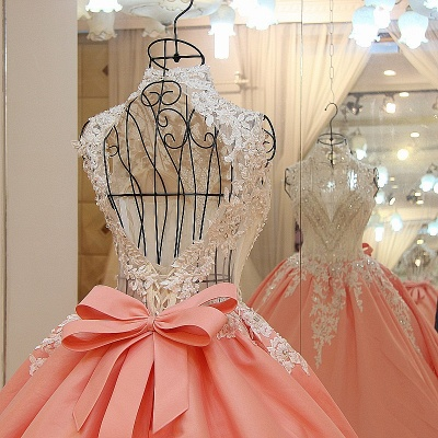 High Neck Sleeveless Appliqued Open Back Quinceanera Dresses_4