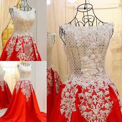 Lace Appliques Beading Sleeveless Red Quinceanera Dresses_5