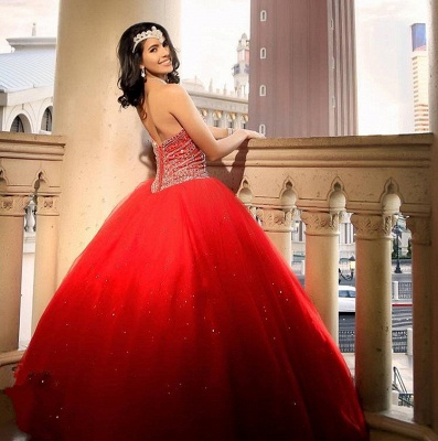 Fascinating Watermelon Red Sweetheart Ball Gown Quinceanera Dresses | Beadings 15 Dresses Long_5
