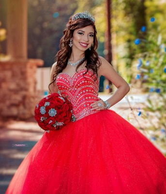 Fascinating Watermelon Red Sweetheart Ball Gown Quinceanera Dresses | Beadings 15 Dresses Long_4