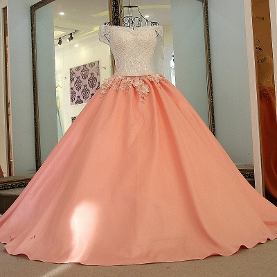 Elegant Beading Ribbon Bow Ball Gown Quinceanera Dresses_2