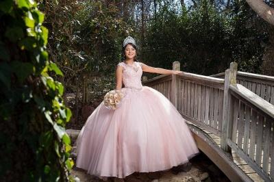 Preciosa joya rosa sin mangas apliques vestidos de quincea_era | Vestido de fiesta xv vestidos_2