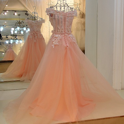 Off-the-shoulder Tulle Appliqued Long Quinceanera Dresses_3