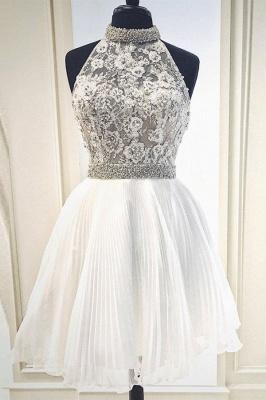 Blanco vestido de fiesta con lace sin mangas | de encaje con cuello alto_1