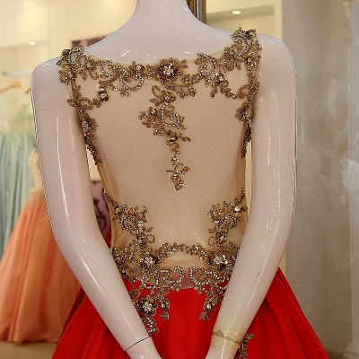 Sequins Beading Sleeveless Red Long Quinceanera Dresses_3