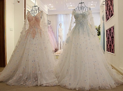 Tulle Straps Appliques Long Quinceanera Dress_3