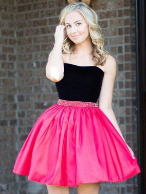 Strapless Short Mini Quinceanera Dama Dress with Beadings_1