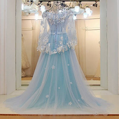 Long Sleeves Tulle Flower Appliques Quinceanera Dresses_2