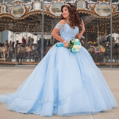 Exquisite Off-the-shoulder Ball Gown Quinceanera Dresses | Beadings Sweet 16 Dresses Long_1