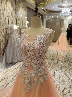 vestidos largos de quincea_era una línea | Apliques de encaje sin mangas_2