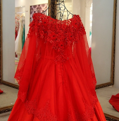Red Long Sleeves Floor Length Appliqued Quinceanera Dresses with Sash_4