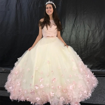 Attractive Two Pieces Jewel Handmade Flowers Sleeveless Sweet 16 Dresses | Lace A-line Quince Dresses Long_1