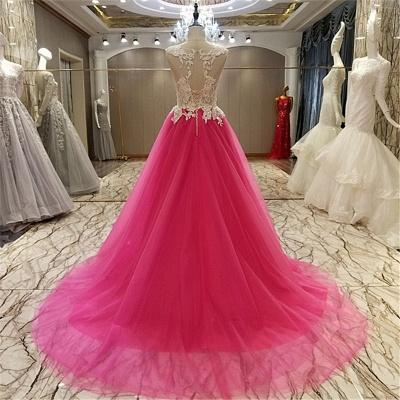Apliques de encaje Vestidos de quincea_era | Longitud del piso sin mangas Tren largo Tul_2