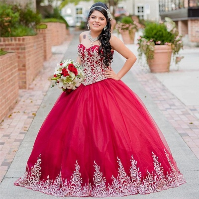Beautiful Red Sweetheart Sleeveless Ball Gown Quinceanera Dresses | Appliques 16 Dresses Long_1