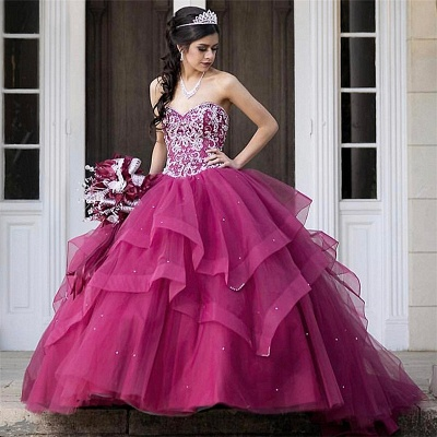 Beautiful Sweetheart Tierd Ball Gown Quinceanera Dresses | Beadings Sweet 16 Dresses Long_1