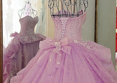 Strapless Sweetheart Beading Bows Quinceanera Dress_5